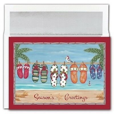 Set of 18 Holiday Flip Flop Beach Theme Boxed Holiday Christmas Cards