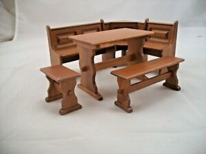 Details About Dining Nook Set W/ Trestle U0026 Benches Dollhouse Wooden  Furniture 1/12 Scale T6834