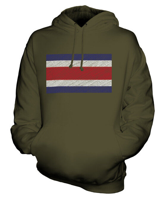 COSTA RICA SCRIBBLE FLAG UNISEX HOODIE TOP GIFT COSTA RICAN FOOTBALL