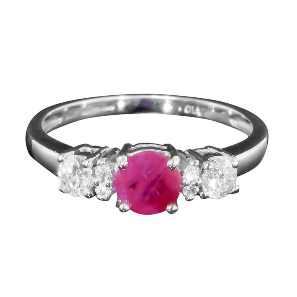 9ct White gold Ruby And Diamond Trilogy Ring
