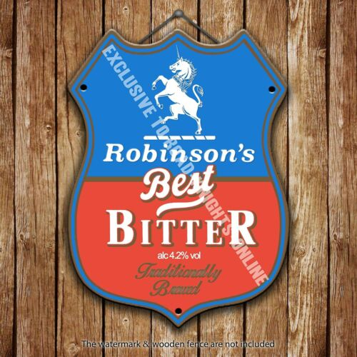 Robinson's Best Bitter Beer Advertising Pub Metal Pump Badge Shield Steel Sign