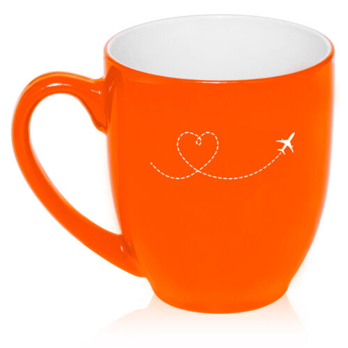 16oz Bistro Mug Ceramic Coffee Tea Glass Cup Heart Love Travel Airplane