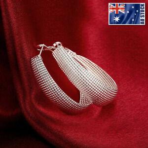 WOMEN-GIRLS-925-Sterling-Silver-Filled-Elliptical-Hoop-Earrings-OZ-Free-Shipping