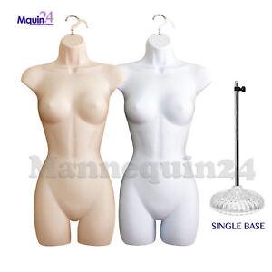 2 FEMALE MANNEQUIN TORSOS SET - FLESH & WHITE BODY FORMS + 2 HANGERS + 1 STAND
