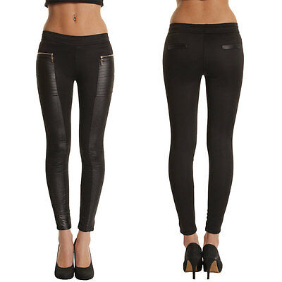 Hot Womens Leather Look Skinny Pants Ladies Stretchy Legging Jegging Trouser New