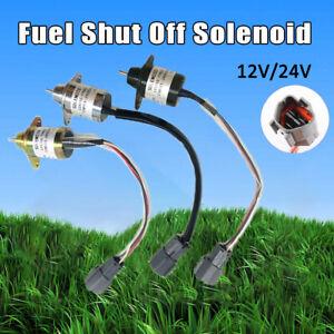 Absteller-Abstellmotor-Solenoid-Stopmagnet-Magnetventil-12-24V-Fuer-Yanmar-Kubota