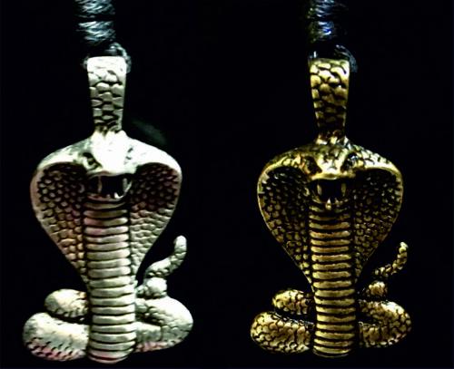 Cobra Snake Pewter Bronze Pendant Necklace Reptile Boa  Gothic Biker