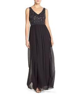 c771be06b752 ADRIANNA PAPELL BEADED BODICE V-NECK CHIFFON BLACK GOWN DRESS sz 0 ...