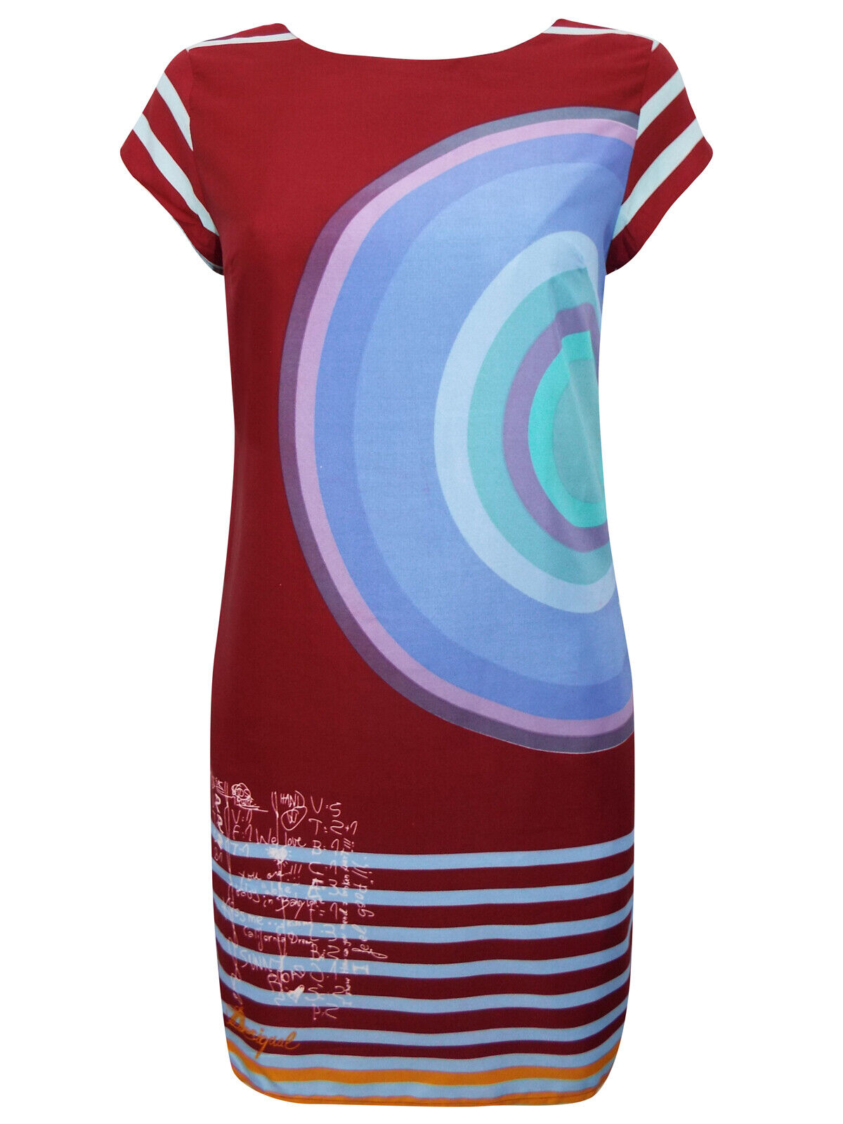 Size Small to XXLarge NEW Desigual Maroon Red Target Stripe Print Dress