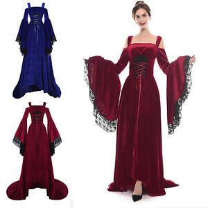 Details about Medieval Renaissance Dress Lace Women Costume Velvet Strap  Bell Sleeve Plus Size
