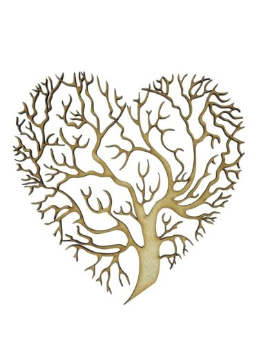 2x Heart Shape Tree Branches 15cm Wood Craft Embelishments Laser Cut Shape MDF