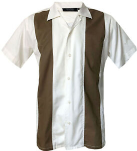 Rockabilly-Fashions-Retro-Vintage-Bowling-1950-1960-Men-039-s-Shirt-Brown-White