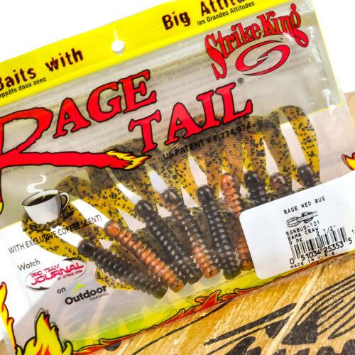 "STRIKE KING Rage Ned Bug Finesse Creature Bait Jig Trailer 2.5/"" 9ct PICK"