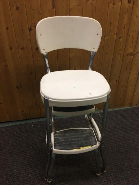 Rare Vintage Cosco Chrome White Metal Step Stool Kitchen Chair Fold Out