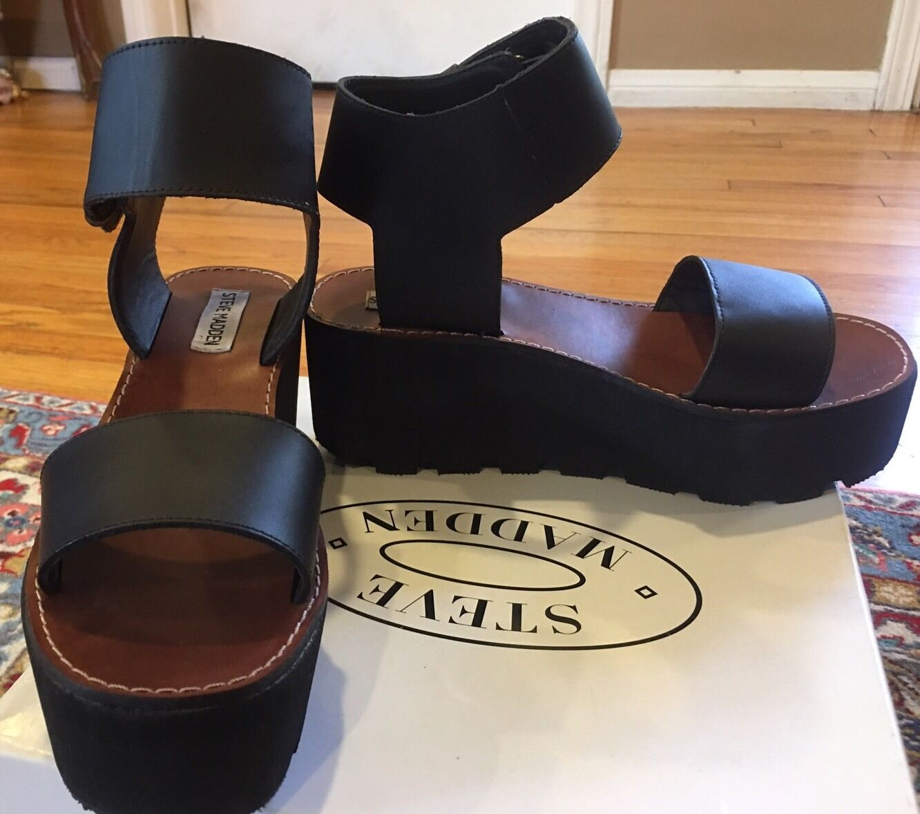 STEVE MADDEN TRYUMPH schwarz LEATHER WEDGE WEDGE WEDGE PLATFORM Größe 9.5 3be647