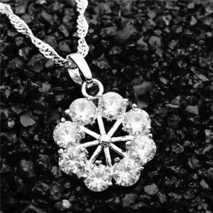 3Ct Round Cut VVS1 D Diamond Floral Wheel Pendant 14K White gold Finish NO CHAIN