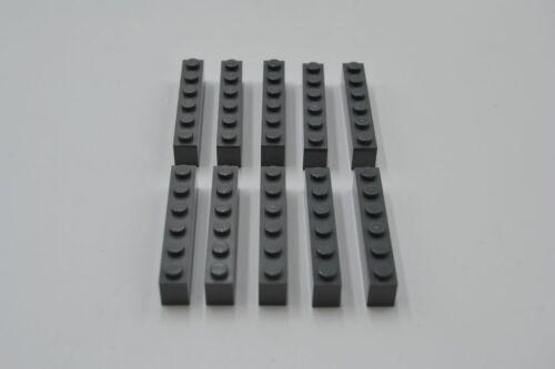 LEGO 10 x Basisstein neues dunkelgrau Dark Bluish Gray Brick 1x6 3009