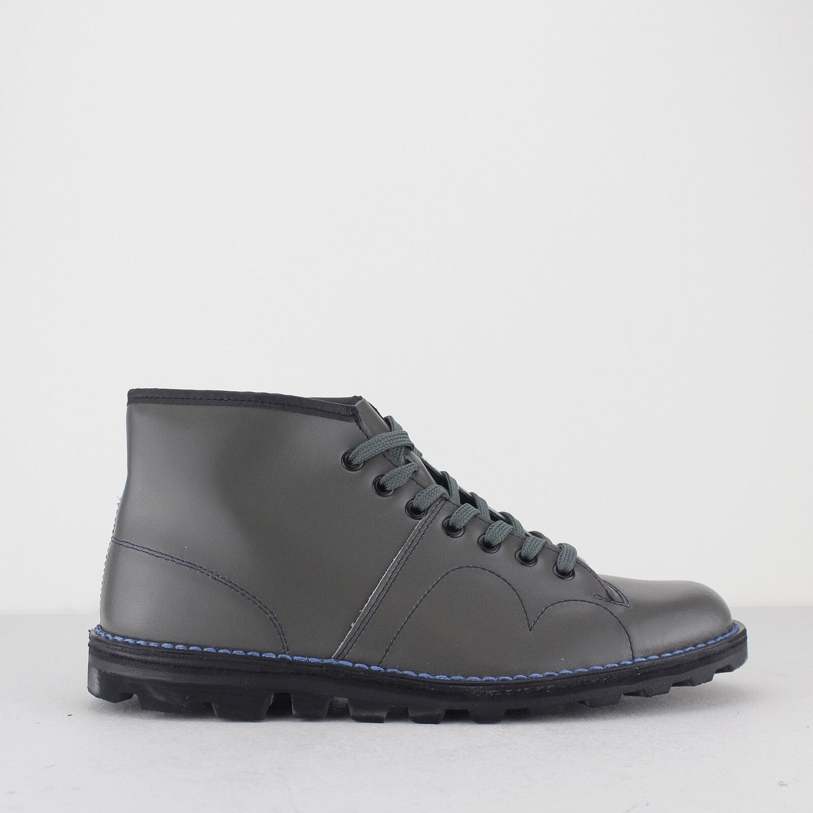 Grafters UNISEX Mens Womens Coated Leather Original Leather Monkey Boots Grey