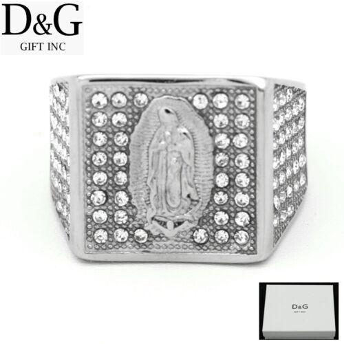DG Men/'s Stainless Steel Silver,VIRGIN MARY,Brilliant CZ,Rings 8 9,10,11,12*Box