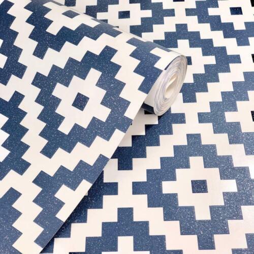 Blanc Marine 3D pixel géométriques Paillettes en Relief Papier Peint Vinyle