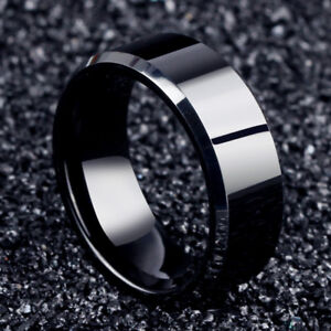 Men Black Titanium Stainless Ring Wedding Lover Couple Rings For Women Size 6-12