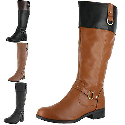 WOMENS SODA SAM-H KNEE HIGH RIDING BOOTS FAUX LEATHER