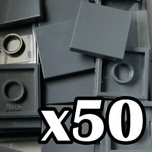 NEW-LEGO-TILES-2-x-2-Dark-Bluish-Gray-tile-x-50-smooth-tiler-2x2-grey