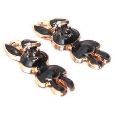 100pcs Gold Plated Black Enamel Rabbit Charms Alloy Pendants Jewelry Supplies D