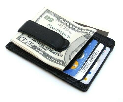 Black Genuine Leather Mens Money Clip ID Badge Flat Front Pocket Wallet
