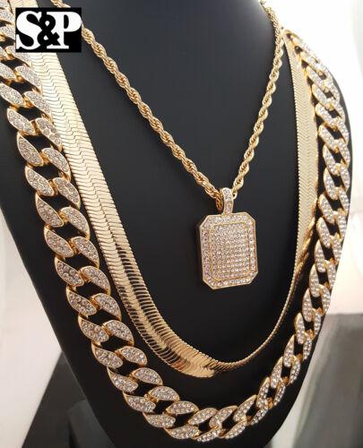 Men Iced out Pendant Necklace, Herringbone, Cuban Chain Hip Hop Rapper Necklace