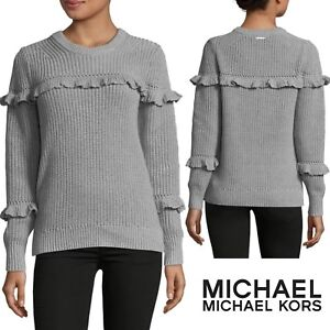Image is loading MICHAEL-KORS-Cotton-Ruffle-Sweater-Long-Sleeve-Women- ad784e7d4