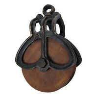 Vintage Antique Old Style Cast Iron Metal Rustic Large Wood Wheel Farm Pulley