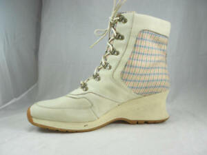 c25842c83dd9 Great Used TIMBERLAND Plaid Wedge Ankle Boots Women s Size 10 Medium ...
