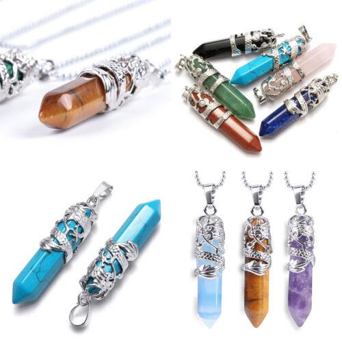Hexagonal Natural Quartz Crystal Chakra Healing Alloy Pendant Chain Necklace HI