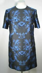STELLA-MCCARTNEY-Ladies-Black-Blue-Laycie-Crystal-Brocade-Mini-Dress-UK12-BNWT