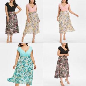 Details about Womens Loose Midi Dresses V Neck Wrap Chiffon Short Sleeve  Plus Size Prom Dress