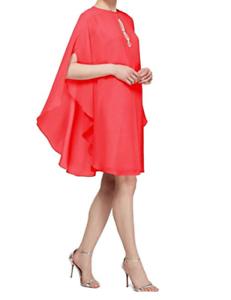 SLNY Fashions Dress Rhinestone Embellished Capelet Cerise Cocktail Rosa damen 4