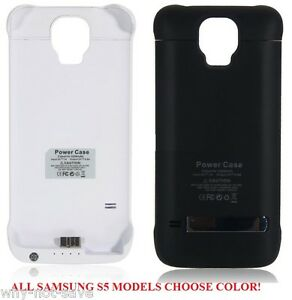 new arrivals 690c2 7e678 Details about Backup Power Bank Battery charger back cover Case for Samsung  Galaxy S5 SV Phone