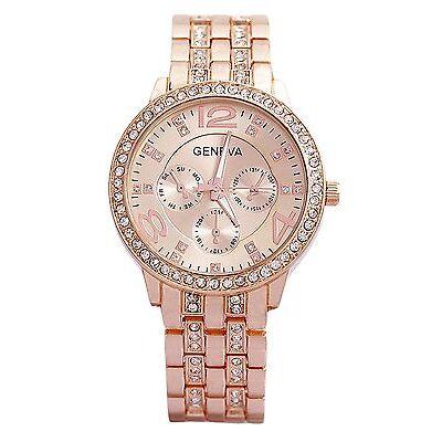 Geneva Rhinestone Womens Luxury Watch Rose Gold Diamond Studded Ladies Watch