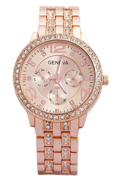 Rhinestone Womens Luxury Watch Rose Gold Diamond Studded Ladies Watch