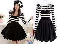 Dolly Cute Sweet Japan Dolly Gothic Punk Lolita BOW Stripes Onepiece Dress S~XL