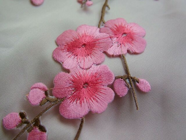 Beautiful Embroidered Plum Blossom Flower Patch Iron/Sew on Applique 36cmX19cm