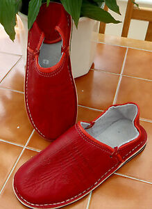 MENS-TRADITIONAL-LEATHER-BABOUCHE-Slippers-RED-12-46