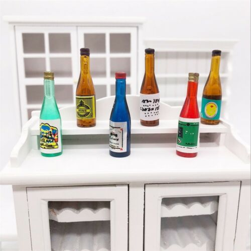 6 Grape Fruit Wine Bottles Dollhouse Miniature Pub Bar Food Drink Accessory 1:12