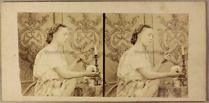 Scene-Artistique-Femme-au-miroir-Beaute-Photo-Stereo-Vintage-Albumine-ca-1858