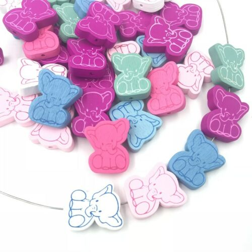 Wood Elephant Loose Beads Wood beads Pacifier Clip Accessories Spacer Besds 25mm