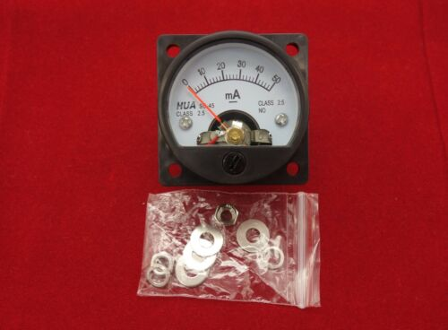 1PC DC 0-50MA Analog Ammeter Panel AMP Current Meter SO45 Cutout ...