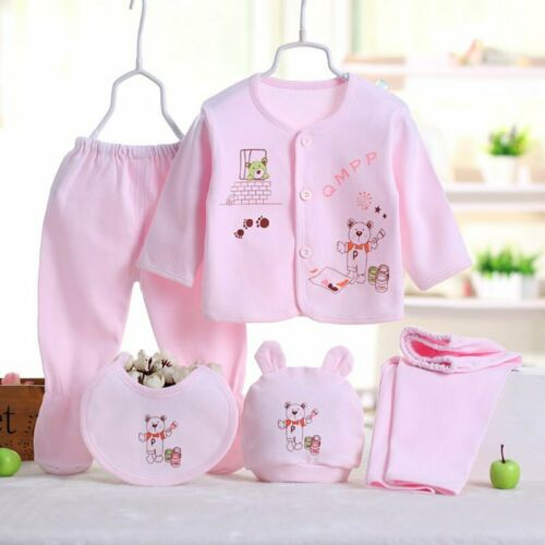 5Pcs Newborn Baby Cotton T-Shirt /& Long Pants Boy Girl Suits Infant Clothes Sets