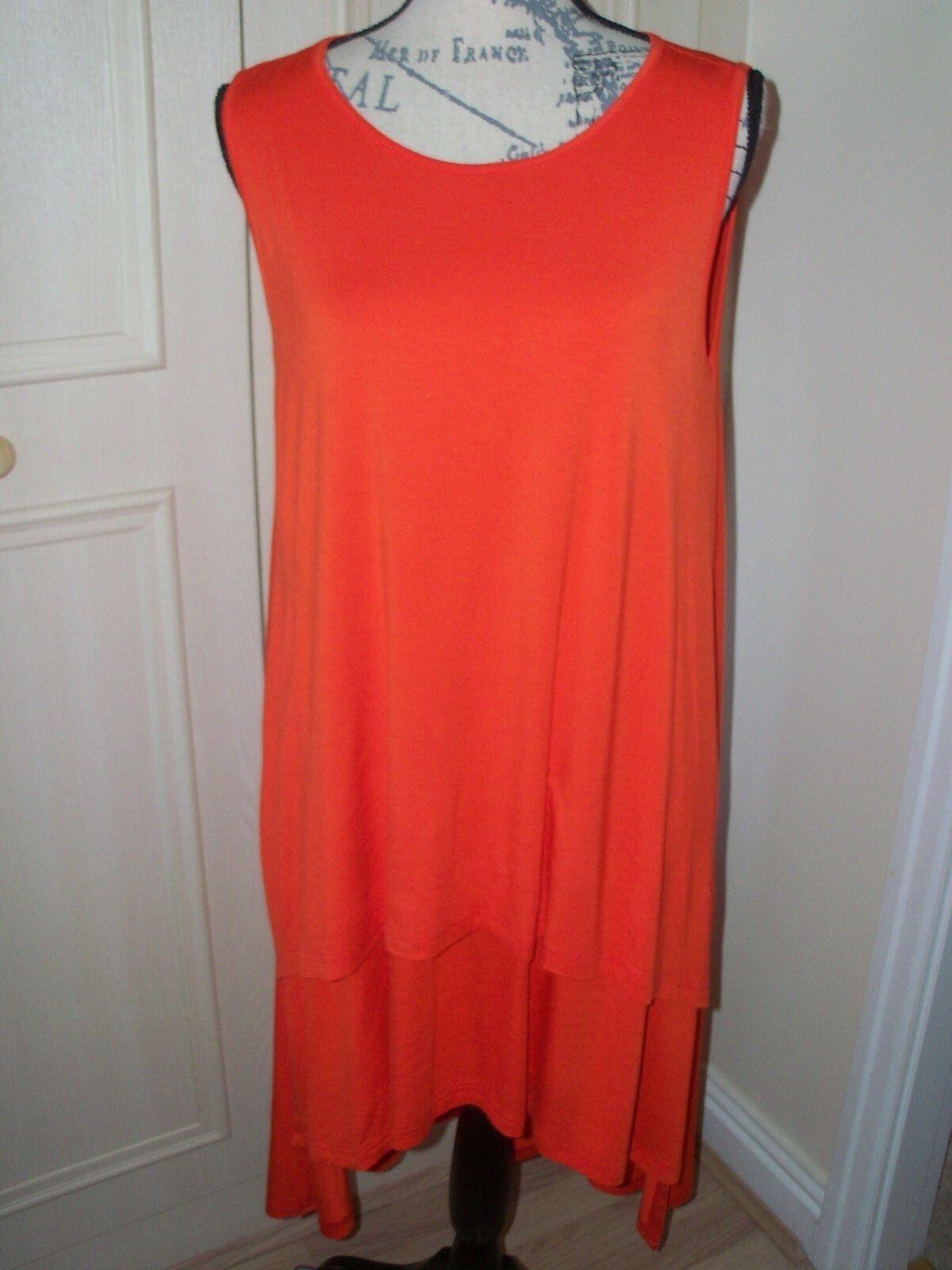 NEW JOIN CLOTHES Double Layer Tunic Dress - Tomatoe Größe Large | Spezielle Funktion  | Schnelle Lieferung  | Schön und charmant  | Export  | Ausgezeichnet