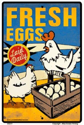 """Fresh Eggs Metal  Sign 10/"""" x 15/""""  made in USA Vintage Look #WS007"""